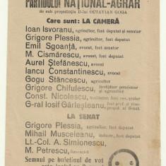 Afis electoral Partidul National-Agrar Octavian Goga - anii 1930