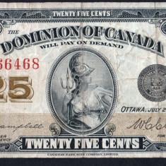 Canada 25 Cents Serie 666468 1923 - bancnota america