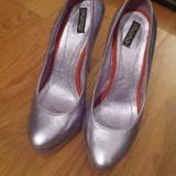 Pantofi din piele cu toc si platforma