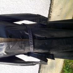 Palton lung din piele naturală 100% - Palton dama, Marime: 36, Culoare: Negru