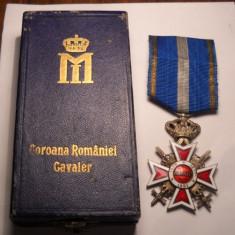 Ordinul Coroana Romaniei Cavaler Model de Razboi la Cutie Piesa de Colectie