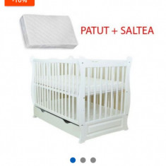 Patut bebe lemn alb+saltea cocos+masa schimbat - Patut lemn pentru bebelusi, 120x60cm