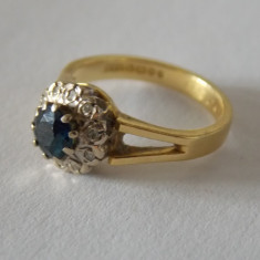 Inel de aur de 18k cu diamante si safir -3015 - Inel diamant, Culoare: Galben