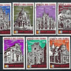 GUINEA ECUATORIALA 1975– CATEDRALE, serie stampilata, SA15, Stampilat