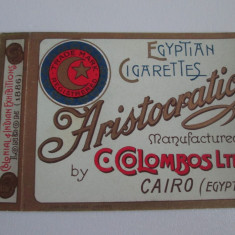 Pachet gol(fara sertar) litho colectie tigari Egiptene Aristocratic din anii 30 - Pachet tigari