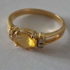 Inel de aur cu diamante si safir galben-3020 - Inel diamant, Carataj aur: 18k