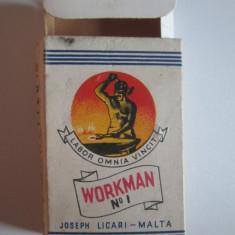 Pachet gol colectie 10 tigari Workman No.1 fabricate in Malta anii 50 - Pachet tigari