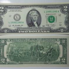 SV * SUA / Statele Unite TWO DOLLARS / 2 DOLARI 2009 AUNC + / UNC - bancnota america