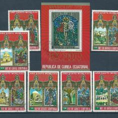 GUINEA ECUATORIALA 1975 – VITRALII, serie si colita stampilate, SA20, Stampilat