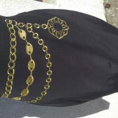 Fustă elegantă neagră sexy cu borderie aurie - Fusta Body Effect, Marime: 36, Culoare: Negru