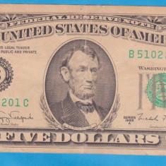 (1) BANCNOTA SUA - 5 DOLLARS 1988 A - bancnota america