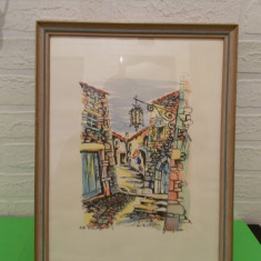 Strada veche in Eze Village - superba ACUARELA semnata GILGANE, inramata - Pictor strain, An: 1952, Peisaje, Altul