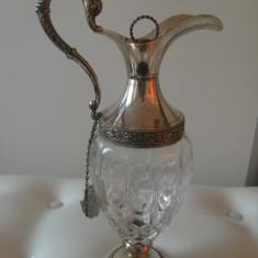 Superba sticla cu montura argintata, veche, marcata Italy, stare perfecta, de decor, Pocal