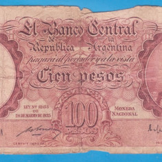(1) BANCNOTA ARGENTINA - 100 PESOS 1935 (28 MARTIE) - MAI RARA - bancnota america