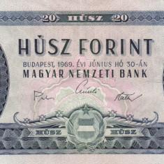 UNGARIA 20 forint 1969 VF+++!!! - bancnota europa