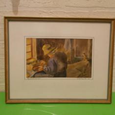 Veche ACUARELA semnata Mellquist, 1952, inramata, sticla protectie, tablou - Pictor strain, Scene gen, Altul