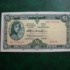 IRLANDA 1 POUND / LIRA 1962 VF + - bancnota europa