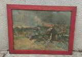 Tablou vechi litografie pe carton 77/60 cm