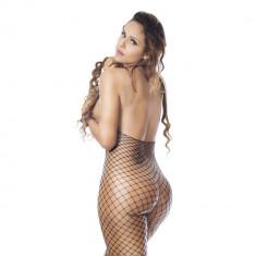 Lenjerie Lady Lust Sexy Ciorapi Bodystocking Fishnet Open Crotch Stocking - Dres, Marime: Masura unica, Culoare: Rosu
