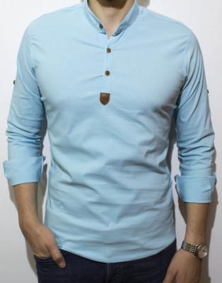 Camasa elastica - camasa slim fit - camasa turquaz - camasa barbati foto