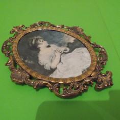 Portret de fata, superba STAMPA pe MATASE, rama baroc, Made in ITALY - Tapiterie Goblen