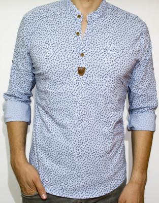Camasa elastica ancore - camasa slim fit - camasa bleu - camasa barbati foto