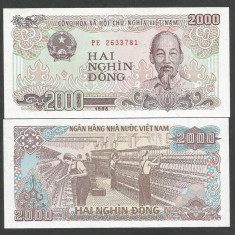 VIETNAM 2000 2.000 DONG 1988 UNC [1] P-107a, necirculata - bancnota asia
