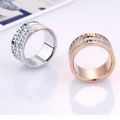 Inel Bvlgari crystals, model verigheta, 24ktgp. - Inel placate cu aur