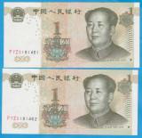 2 BANCNOTE CU SERII CONSECUTIVE CHINA - 1 YUAN 1999, STARE AUNC