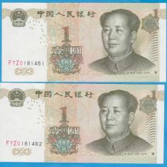 2 BANCNOTE CU SERII CONSECUTIVE CHINA - 1 YUAN 1999, STARE AUNC - bancnota asia