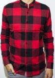 Camasa carouri - camasa slim fit - camasa rosu negru - camasa barbati lunga, XL, Maneca lunga