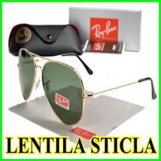 Ochelari de soare Ray Ban Lentila STICLA, Culoare lentila: Verde, Material rama: Metal, Unisex, Verde