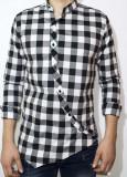 Camasa asimetrica carouri - camasa slim fit - camasa carouri - camasa barbati, XL, Maneca lunga