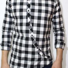 Camasa asimetrica carouri - camasa slim fit - camasa carouri - camasa barbati