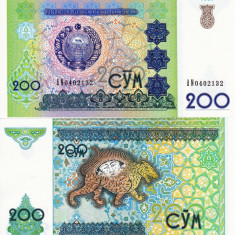 UZBEKISTAN 200 sum 1997 UNC!!!
