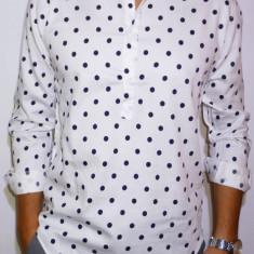 Camasa alba cu buline - camasa slim fit - camasa trei nasturi - camasa barbati
