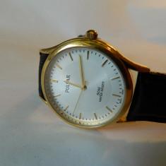 Ceas barbatesc PULSAR (by seiko ) placat cu aur, elegant, Quartz, Inox, Analog, Diametru carcasa: 34