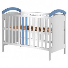 Patut copii din lemn Hubners Hansell 120x60 cm Alb-Albastru - Patut lemn pentru bebelusi
