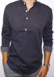 Camasa neagra cu buline - camasa slim fit - camasa trei nasturi - camasa barbati, S, Maneca lunga