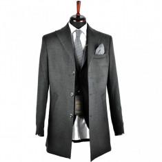 Palton barbati, Slim Fit, Gri, Ucu Dima, Cod:1078 Gri (Culoare: Gri, Marime palton: 50)