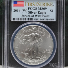 United States / 2014-W Silver Eagle - First Strike / 1 OZ PCGS MS69, America de Nord, Argint