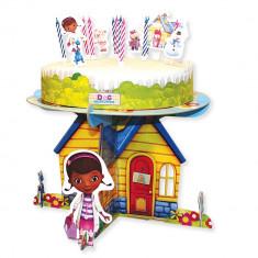 Suport de tort cu decoratiuni - Doc McStuffins, Amscan 996907, Set 17 buc