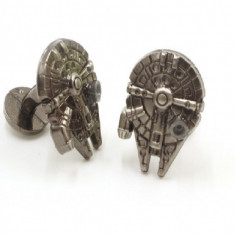 Butoni STAR WARS Millennium Falcon argintii metal + cutie simpla cadou