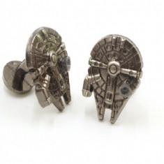 Butoni STAR WARS Millennium Falcon argintii metal + cutie simpla cadou, Inox