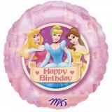 Balon folie 45cm printese Disney Happy Birthday, Amscan 12482