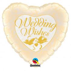 Balon Folie 45 cm Wedding Wishes Porumbei & Trandafiri, Qualatex 48562