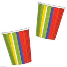 Pahare carton colorate - 266 ml, Amscan 589310, Set 8 buc
