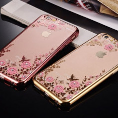 Husa iPhone 7 TPU Flower Rose Gold, iPhone 7/8, Transparent, Gel TPU, Apple