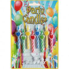 Lumanari aniversare pentru tort multicolore cu inimioare, Radar 181036, Set 8 buc - Lumanari tort copii