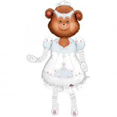 Balon folie figurina AirWalker Teddy Bride - 150cm, Amscan 04935